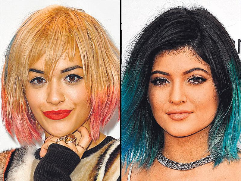 Rita Ora and Kylie Jenner's temporary dip-dye: Ditch clip-on extensions and ammonia-high dyes and get some hair chalk on. Available at online portals and a few stores, these are temporary hair colours that can be applied easily by hand and can be removed in one wash.