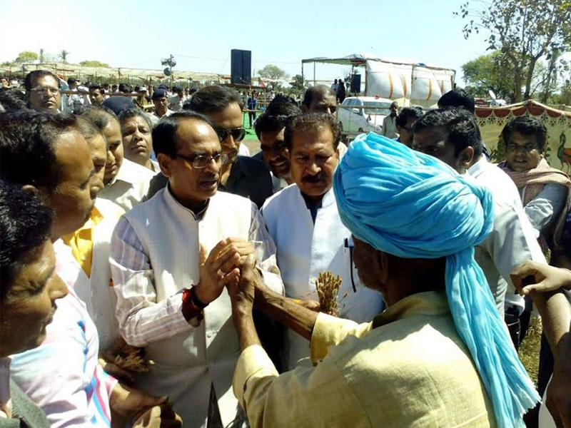Chief minister Shivraj Singh Chouhan visited hailstorm-affected areas in Neemuch district on Wednesday. (HT photo)