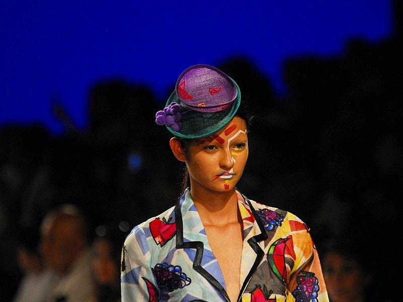 Judging from the LFW catwalks, hats are the season's newest trend. A model at the Gen Next show on Wednesday. (HT Photo/Prodip Guha)
