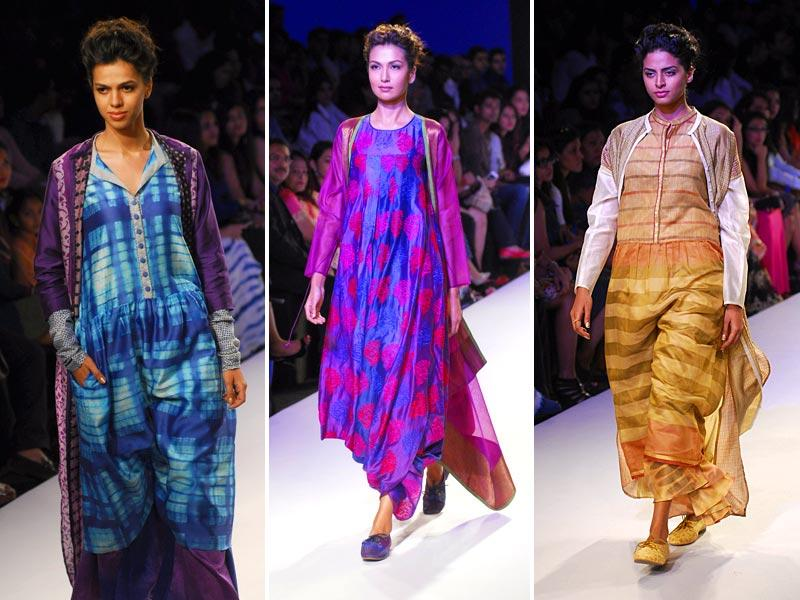 Tie-dye and embroidery form a winning combination at Krishna Mehta's show at Lakme Fashion Week Summer Resort 2015 in Mumbai. (HT Photo/Prodip Guha)