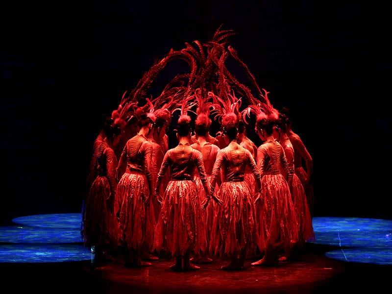 Another set of dancers perform during the new Golden Mask Dynasty show at Happy Valley in Beijing. (Reuters Photo)