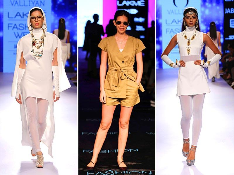 Known for her innovatively designed accessories, Nitya Arora's jewellery collection for her Valliyan label was a glitzy show at LFW.