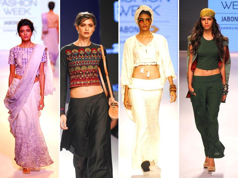 The appeal of the crop tops just don't seem to reduce. Models walk the ramp at LFW. (HT Photo/ Prodip Guha)