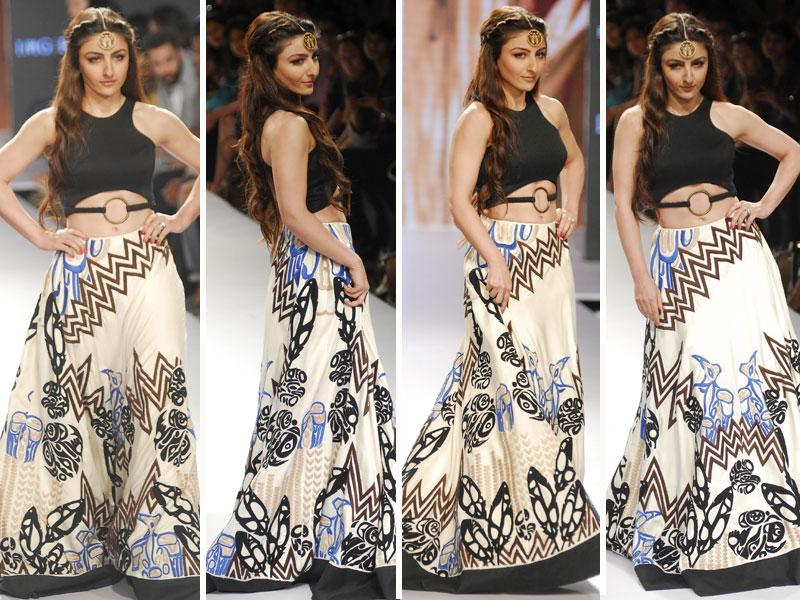 Newly-married actor Soha Ali Khan walked the LFW ramp in a swishy swirling black and white printed long skirt.