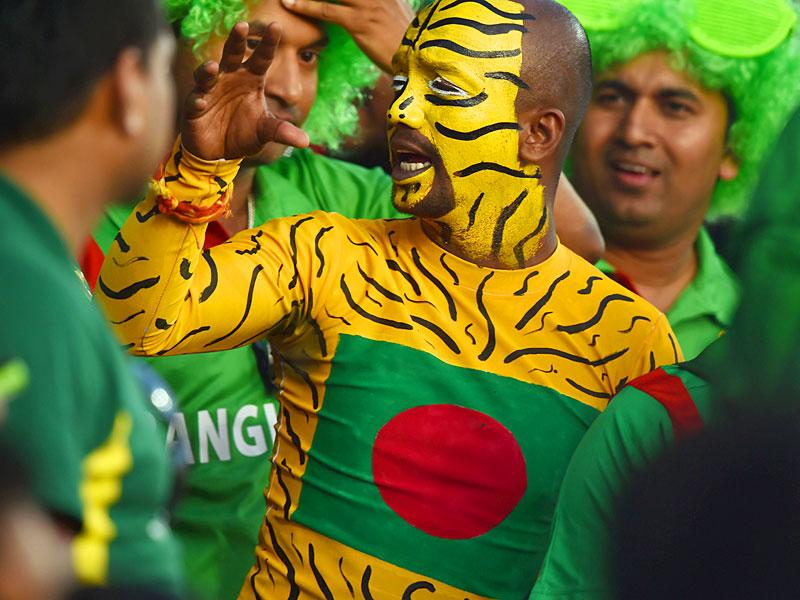 A Bangladesh fan attends the Pool A 2015 Cricket World Cup match between Afghanistan and Bangladesh in Canberra on February 18, 2015.  AFP PHOTO