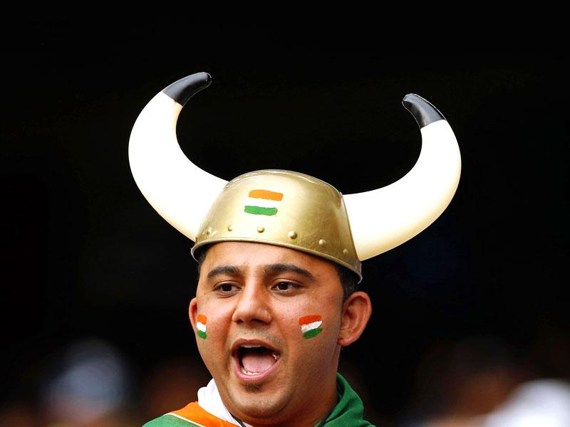 An Indian supporter during the Cricket World Cup at the Melbourne Cricket Ground (MCG). (Reuters Photo)