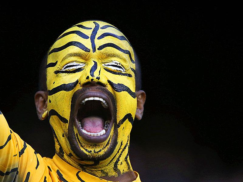 A Bangladesh supporter with his face painted attends the Pool A 2015 Cricket World Cup match between Sri Lanka and Bangladesh at the Melbourne Cricket Ground (MCG) on February 26, 2015.  AFP PHOTO
