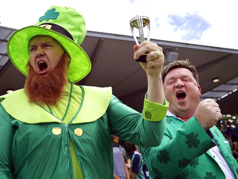 An Ireland supporter in costume stands before the start of the Cricket World Cup match between the team and South Africa at Manuka Oval in Canberra March 3, 2015.  REUTERS