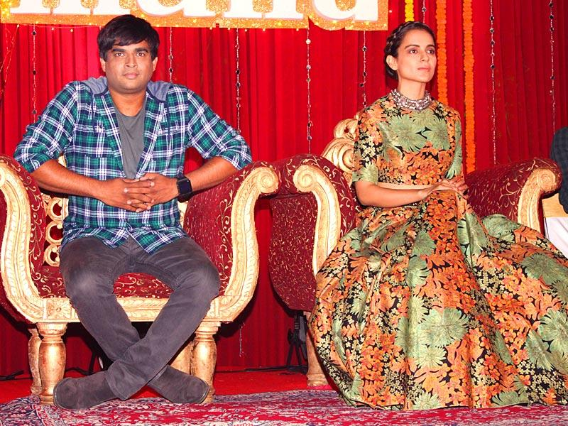 Kangana Ranaut and R Madhavan during the poster launch of Tanu Weds Manu Returns. (Photo: IANS)