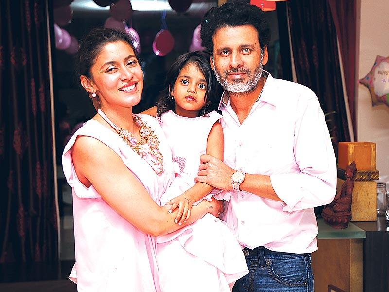 Manoj Bajpayee and his wife Shabana with their four-year-old daughter, Ava Nyla.
