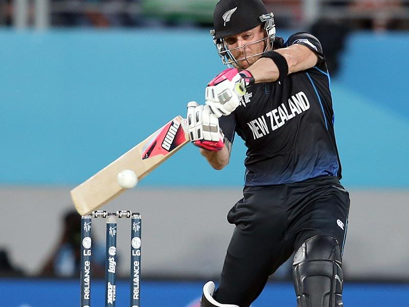 Brendon McCullum plays a shot during the semi-final Cricket World Cup match between New Zealand and South Africa played at Eden Park in Auckland. (AFP Photo/Michael Bradley)