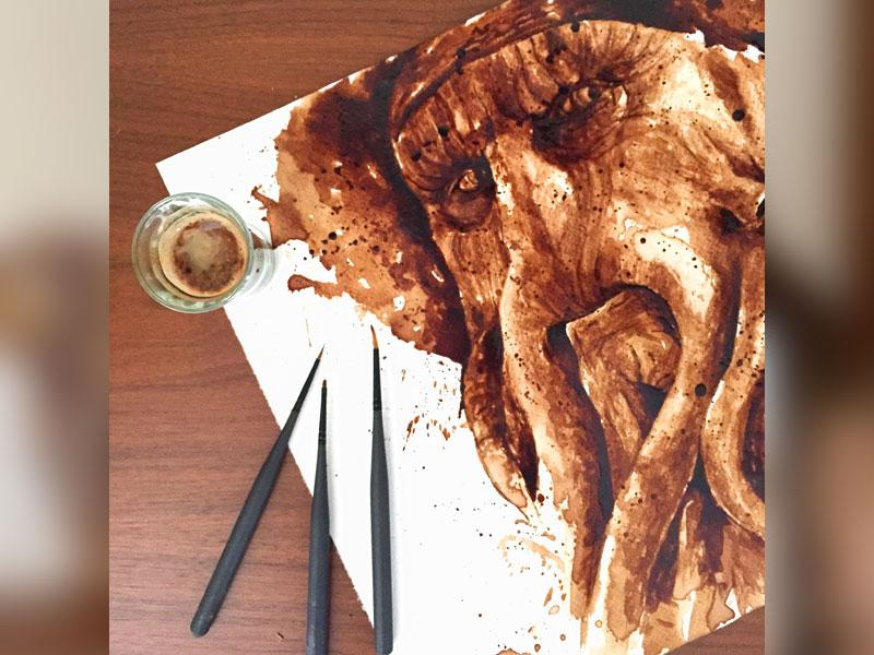 Davy Jones in coffee! Another painting by Maria Aristidou, a British painter.