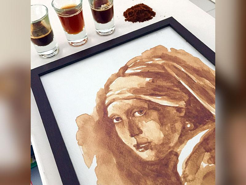 A coffee painting by Maria Aristidou.