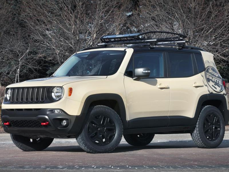 Jeep Renegade Desert Hawk Concept : The smallest model in the company's lineup gets a lot of decals and a number of rugged extras including rock rails and skid plates plus a trailer hitch and a roof rack. Inside it gets all-weather seat covers and floor mats. Photo:AFP
