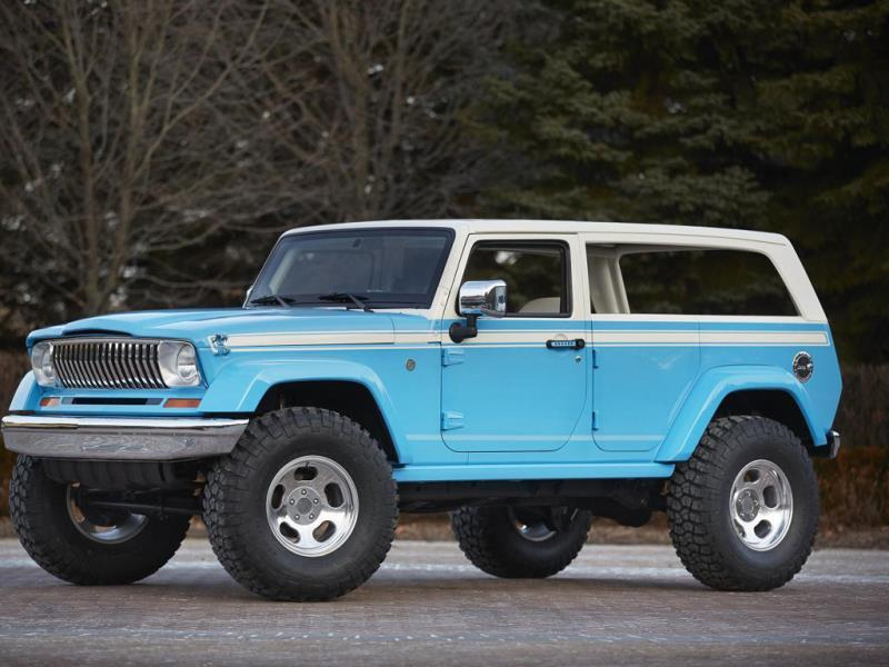 Jeep Chief Concept : A nod to the now classic Cherokees of the 1970s, which became the surfer's car of choice. The car is based on the Wrangler and has removable sides for practicality and a borderline kitsch Hawaiian interior finished in pink, blue and white flowers. Jeep has managed to capture the retro lines of the original by chopping down the windshield and doors and lowering the roofline. Photo:AFP