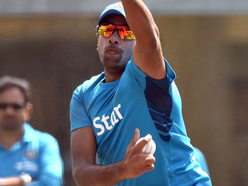 Ravichandran Ashwin bowls during a practice session in Sydney. (AFP Photo)