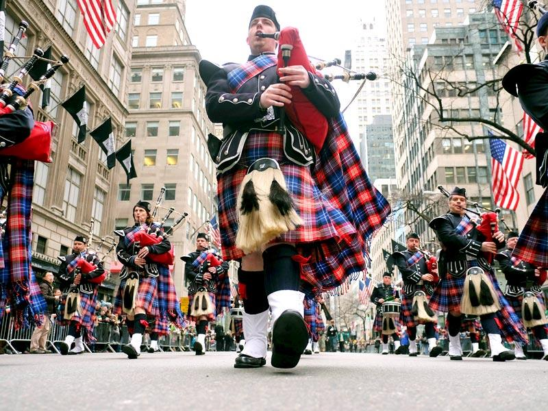 New York: Bagpipers march during the St Patrick's Day parade in New York on March 17.