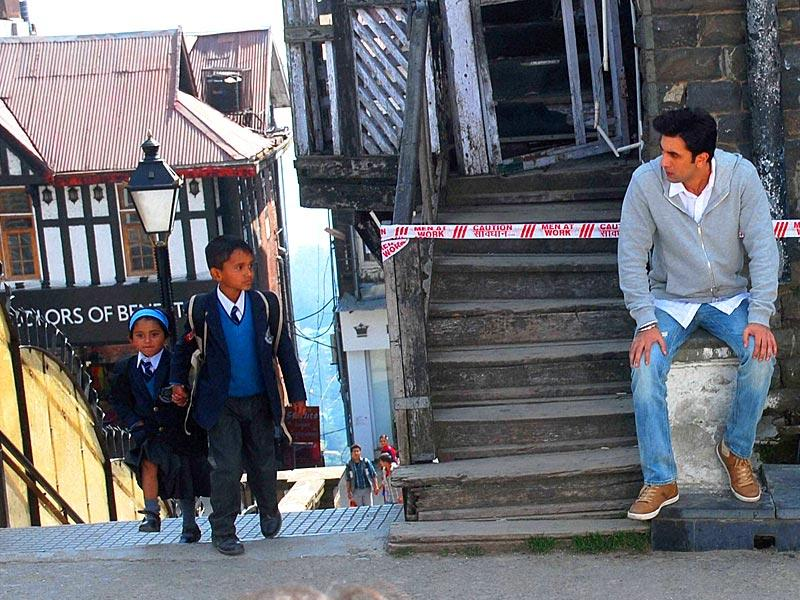 Bollywood actor Ranbir Kapoor spotted shooting for Imtiaz Ali's Tamasha in Shimla on Wednesday. (PTI Photo)