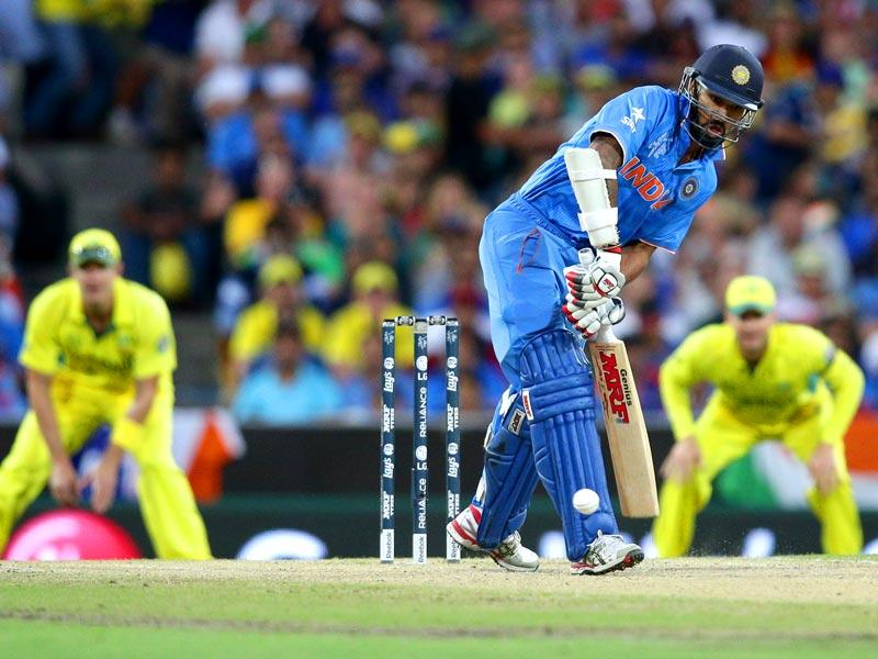 Shikhar Dhawan bats during the 2015 World Cup semifinal between Australia and India in Sydney. (AP Photo)