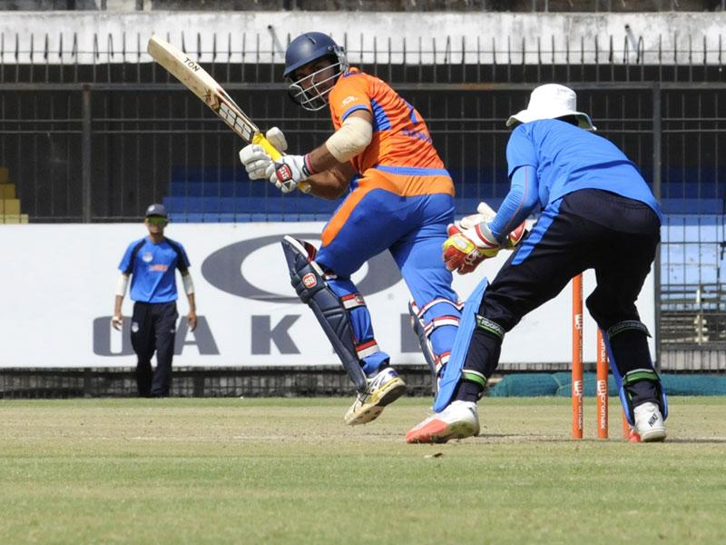 Naman Ojha in action during Central Zone Syed Mushtaq Ali T20 tournament against UP, at Holkar Stadium in Indore on Friday. (Shankar Mourya/HT photo)