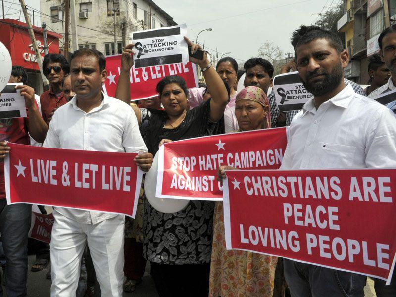 Christian community protesting against attacks on Chruch in Jammu. Nitin Kanotra/HT