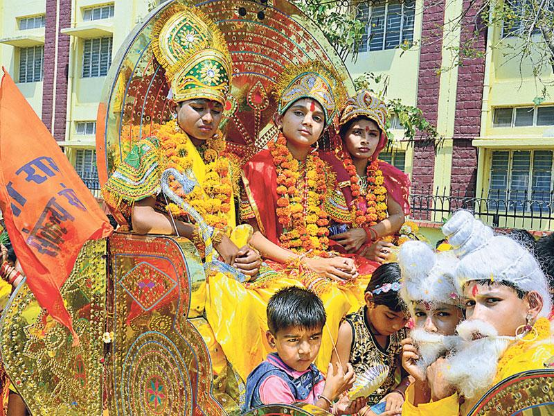 Children dress up as Hindu gods during Ram Navami celebrations in Bhopal on Saturday. (Bidesh Manna/HT photo)