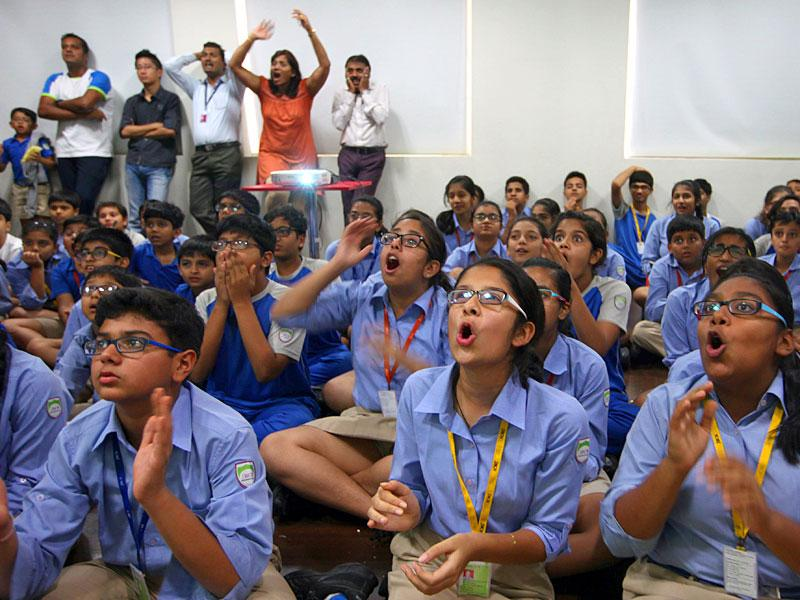 Students of JBCN International School watched the World Cup semi-final clash between India and Australia at their school, in Mumbai. (Kunal Patil/HT photo)