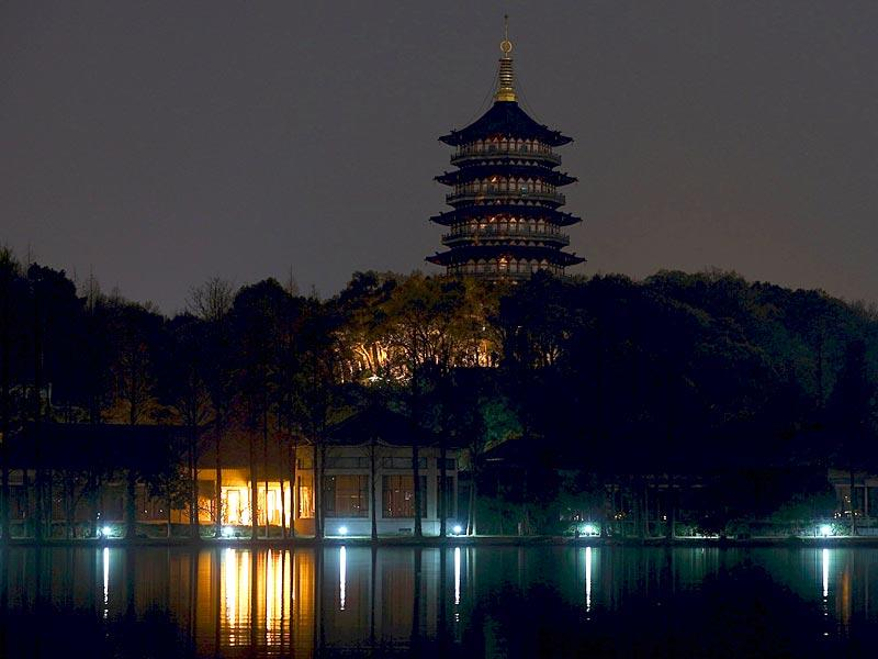 Leifeng Pagoda is seen behind the West Lake during Earth Hour in Hangzhou, Zhejiang province in China. Earth Hour, when everyone around the world is asked to turn off lights for an hour from 8:30pm local time, is meant as a show of support for tougher action to confront climate change. (Reuters)