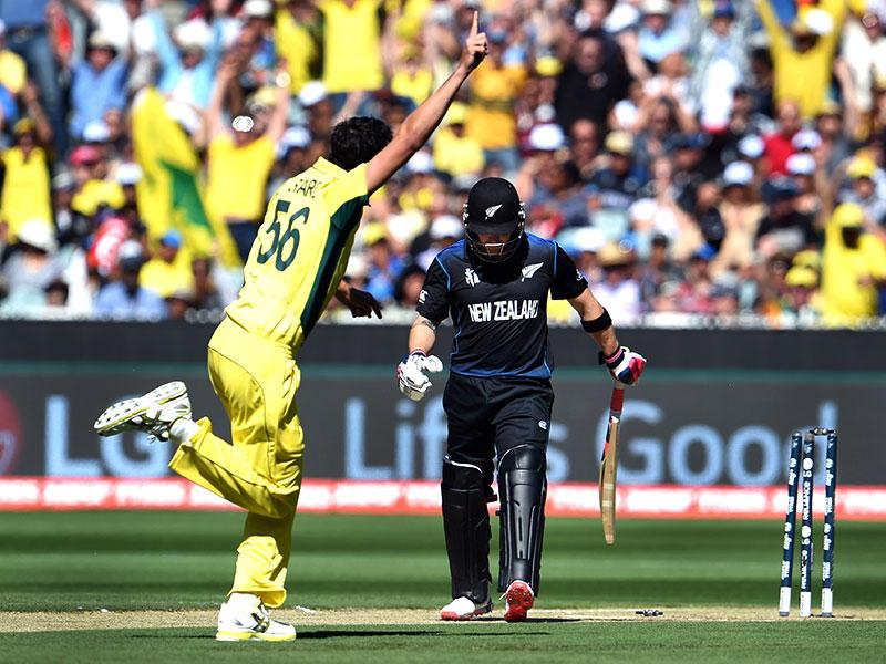 New Zealand's Brendon McCullum is bowled by Australia pacer Mitchell Starc for a duck during the 2015 World Cup final in Melbourne. (AFP Photo)