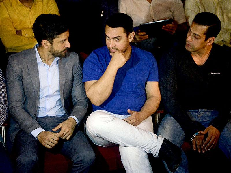 Actors Aamir Khan, Salman Khan and Farhan Akhtar attended a seminar convened by MNS chief Raj Thackeray to discuss the controversial Mumbai Development Discussion (MDP) in Mumbai, on March 28, 2015. (Photo: IANS)