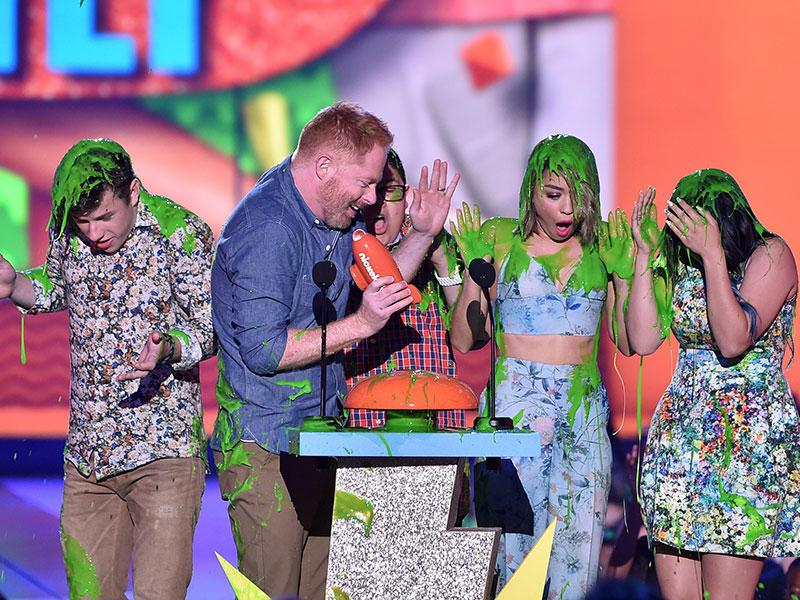 That's a goo hit: Actors Nolan Gould, Jesse Tyler Ferguson, Rico Rodriguez, Sarah Hyland and Ariel Winter of Modern Family accept award for Favourite Family TV Show onstage during Nickelodeon's 28th Annual Kids' Choice Awards. (AFP)