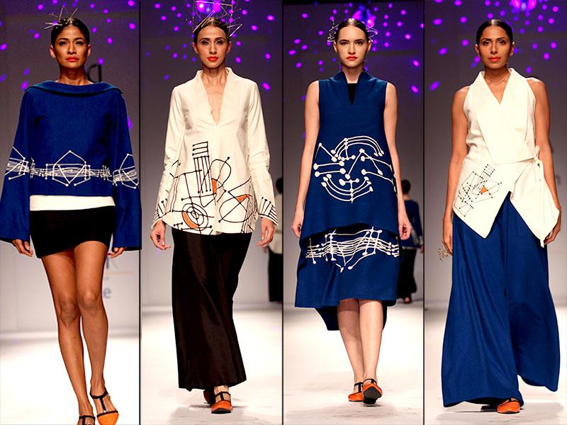 Models walk the ramp at Amazon India Fashion Week in Poonam Bhagat's creations. (IANS)