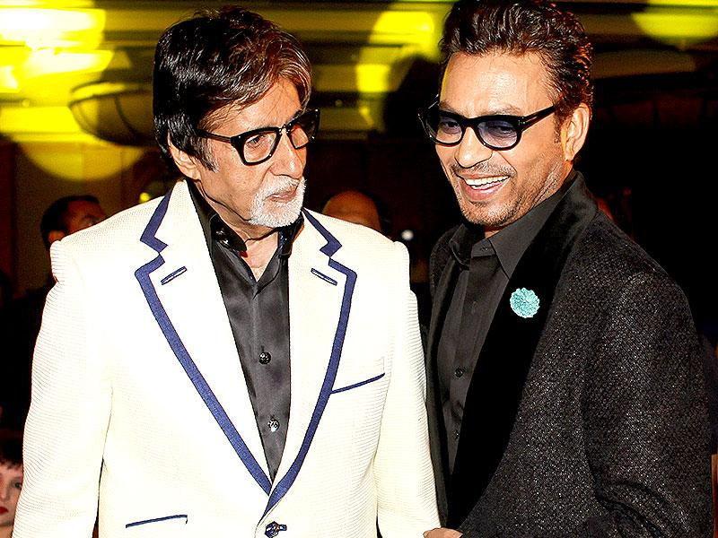 The super talented club: Amitabh Bachchan with his Piku co-star Irrfan Khan at HT Mumbai's Most Stylish 2015 Awards in Mumbai. (HT Photo)