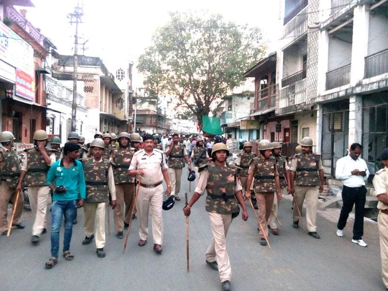 Police force has been deployed in Khandwa as tension prevailed in the MP town. (Sunil Kerhalkar/HT photo)