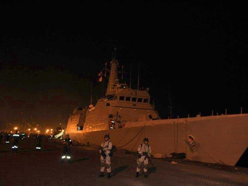 INS Sumitra docked at the harbour in Yemen's Aden city. (Photo credit- Indian Navy)