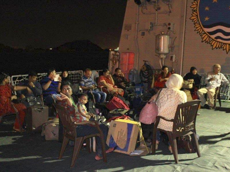 Rescued Indians on the helodeck of INS Sumitra in Yemen's Aden city. (Photo credit- Indian Navy)