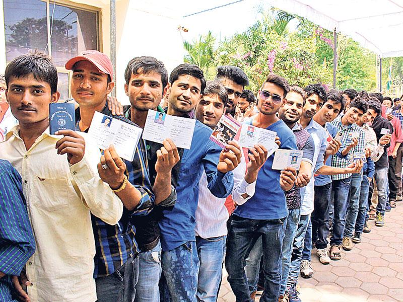 Election for the post of office-bearers of the National Students' Union of India (NSUI) was held in Bhopal on Wednesday. (Bidesh Manna/HT photo)