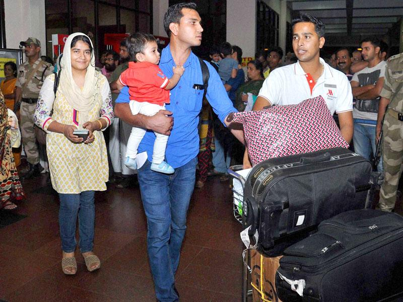 The first batch of 168 Indians, evacuated from Yemen by Air Force C-17 Globemaster aircraft, arrive at Kochi International Airport. PTI Photo