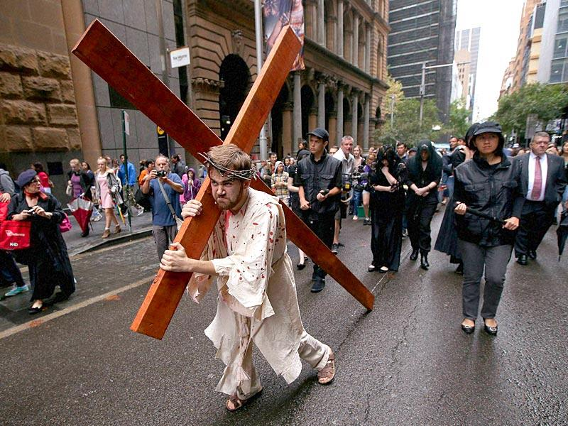 Brendan Paul plays the part of Jesus during a re-enactment of the crucifixion of Christ in Sydney. AP Photo