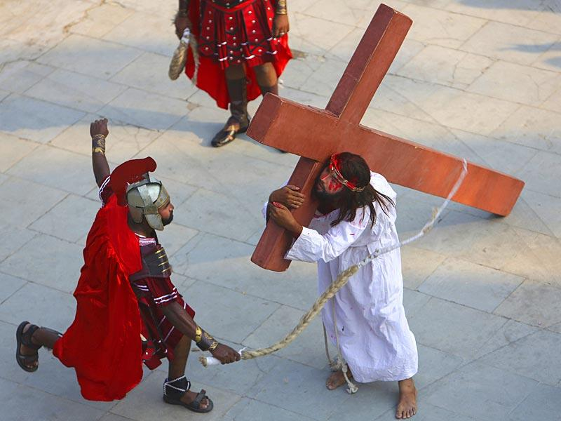 Indian Christian devotees enact the crucifixion of Jesus Christ to mark Good Friday at Sacred Heart Church in Hyderabad. AP Photo