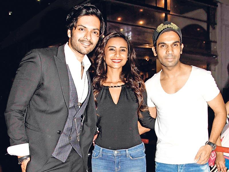 Ali Fazal with Patralekha and Rajkummar Rao at the Fast and Furious 7 premiere. Ali Fazal was also part of the Hollywoood film. (HT photo)
