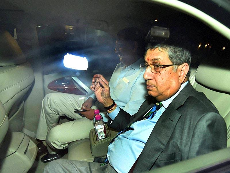 The International Cricket Council (ICC), headed by N Srinivasan, sent a letter to BCCI chief Jagmohan Dalmiya after pictures emerged of board secretary Anurag Thakur in the company of a suspected bookie. (PTI Photo)