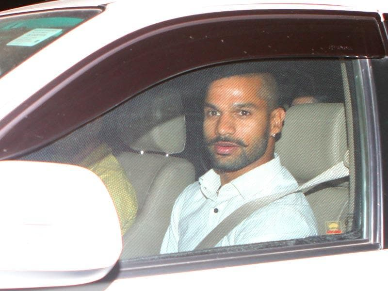 Cricketer Shikhar Dhawan arrives at Leela Palace Hotel in New Delhi to attend the wedding ceremony of cricketer Suresh Raina. (HT Photo)