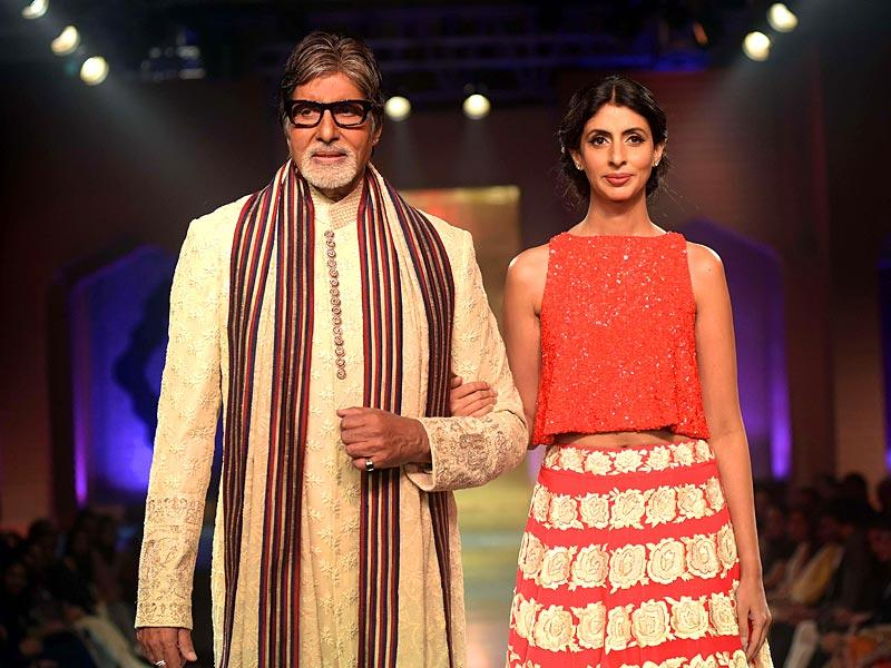 Amitabh Bachchan walked the ramp with daughter Sweta to lend support to actress-activist Shabana Azmi's NGO Mijwan Welfare Society.