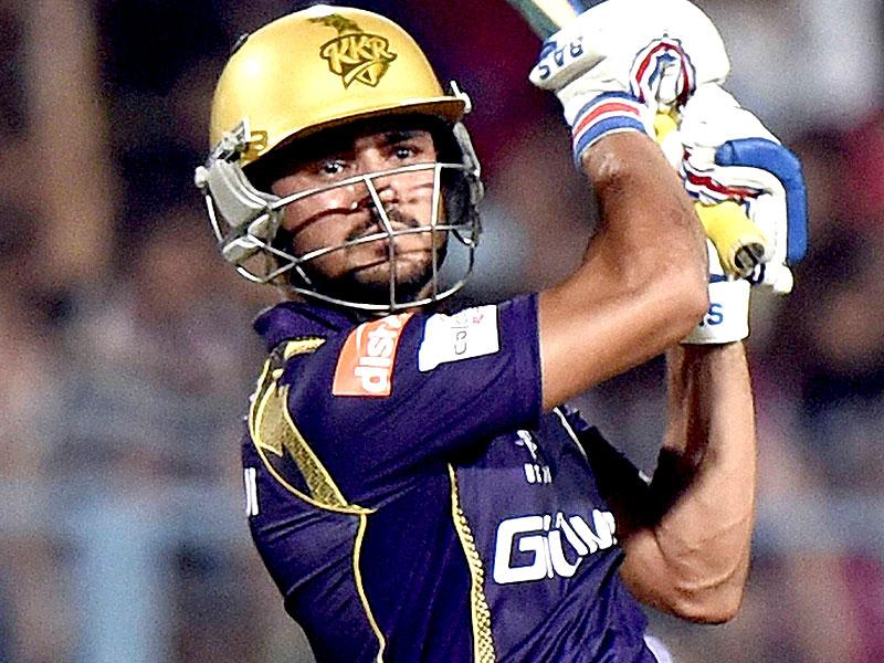 Kolkata Knight Riders batsman Manish Pandey plays a shot during his team's IPL 2015 match against Mumbai Indians at Eden Gardens in Kolkata. (PTI Photo)