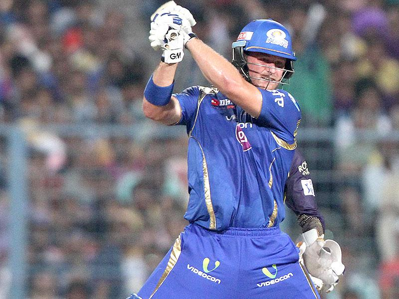 Corey Anderson of Mumbai Indians in action during the IPL 2015 match against Kolkata Knight Riders at Eden Gardens in Kolkata. (Subhendu Ghosh/HT Photo)