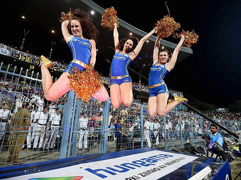 Cheerleaders of Mumbai Indians perform during the IPL 2015 match between Kolkata Knight Riders and Mumbai Indians at Eden Gardens in Kolkata. (PTI Photo)