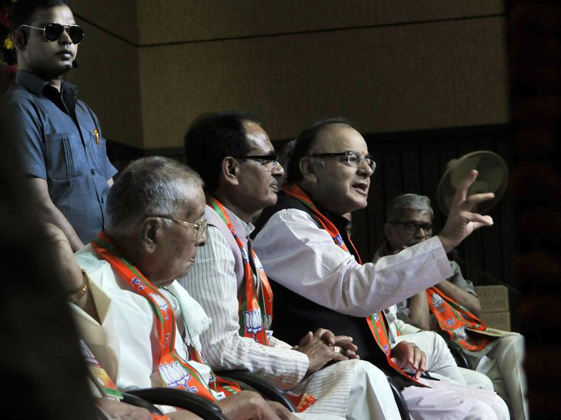 Union finance minister Arun Jaitley addresses the BJP state executive meeting at BJP headquarters in Bhopal on Thursday. (Praveen Bajpai/HT photo)