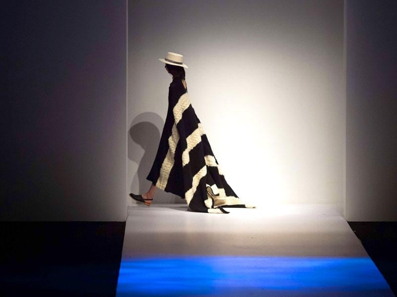 A model parades a creation from the Ban Xiaoxue collection during the Shanghai Fashion Week in Shanghai. (AFP)