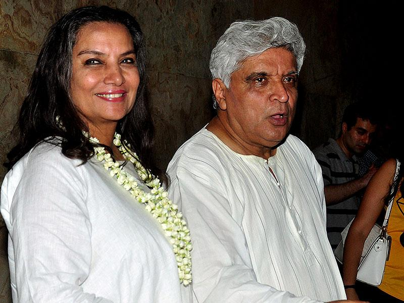 Shabana Azmi and her husband, poet, lyricist and scriptwriter Javed Akhtar were also spotted at the special screening of upcoming Hindi film 'Margarita with a straw', written and directed by Shonali Bose, in Mumbai on April 8, 2015. (AFP Photo)